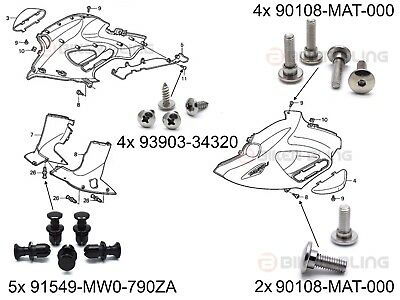 Honda NT650V Deauville shouldered front fairing bolts screws plastic rivets kit