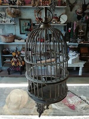 Vintage French Cast Metal Decorative Birdcage - French interiors