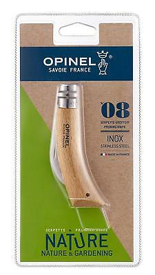 Opinel No 8 Pruning Knife Stainless Steel Folding Locking Knife, Beech wood