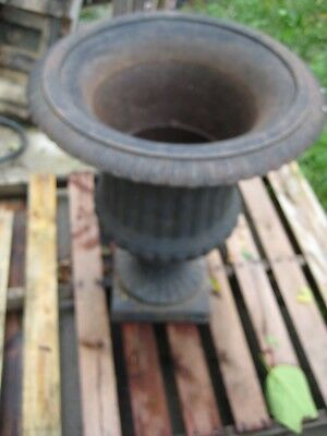 "1 Cast Iron Garden Flower Pot Urn,27"" Tall,Rusty Surface w/Black Vintage Patina"