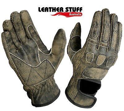 Mens Roadstar Vintage Style Cruiser riding Motorcycle Brown leather gloves