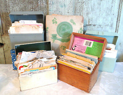 Vintage Lot of 5 Recipe Boxes one binder Handwritten & Sealed Typed Recipes NEAT