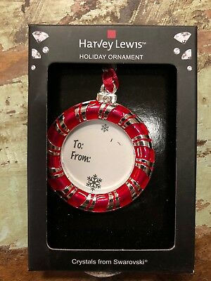Harvey Lewis RED ORNAMENT Holiday Gift Tag ORNAMENT Swarovski Crystals CHRISTMAS