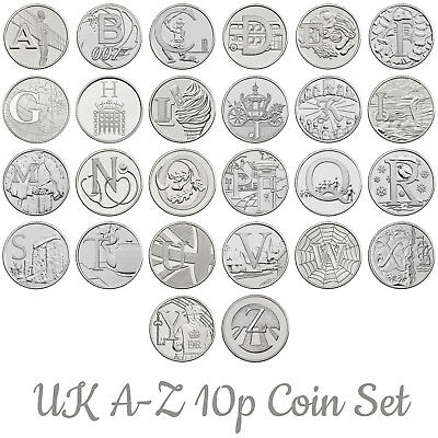 Rare 2018 UK A-Z 10p Letter Coins British Ten Pence Alphabet Set Bond NHS Angel