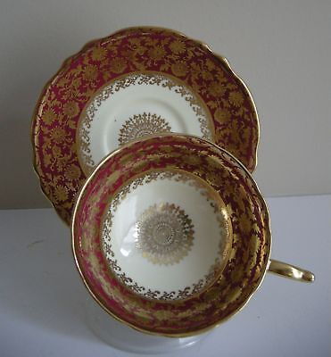 Paragon Wide Mouth Cup & Saucer, Deep Rust and Gold