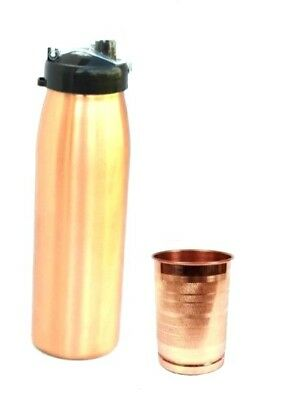 1000 ML New Lacquer Coated Sipper Mat Finished Copper Bottle and 1 Luxury Glass