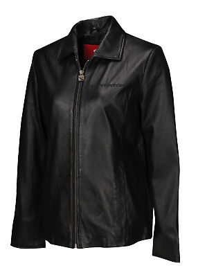 Women Super Soft Lambskin Leather Jacket (2005-2013 C6 Corvette Script) Black 3X