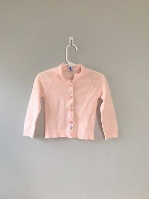 Vintage Baby Girl Pink Cardigan 60s Embroidered Baby Sweater