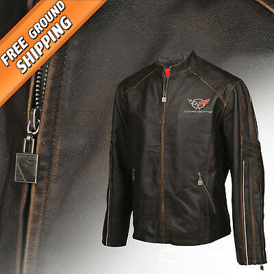 Men Leather Featherweight Light Jacket (1997-2004 C5 Corvette Logo) 3X Tall Long