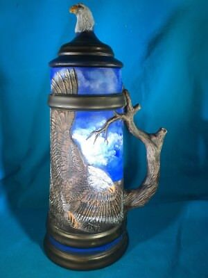 "Large American Eagle Stein w/Lid 16"" Tall Raised Relief Unique Handle Ceramic"