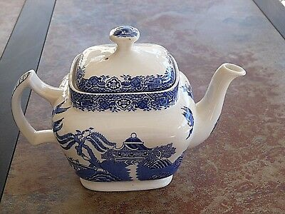 Vintage Woods Ware ~Blue Willow~ Blue & White Teapot Wood & Sons England