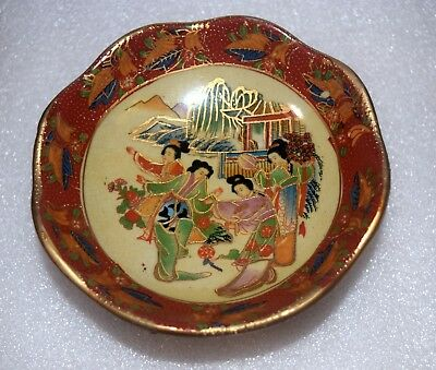 VTG Porcelain Footed Bowl Dancing Geishas