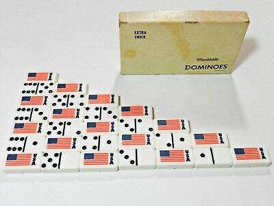 Vintage White Extra Thick Marblelike Dominoes USA Flag