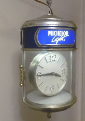 Vintage Anheuser Busch Michelob Light Beer Light Up Rotating Clock,Works,Motion
