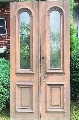 Antique Double Doors Tall Wooden Salvage Maryland Original Glass Rust-Brwn 1910s