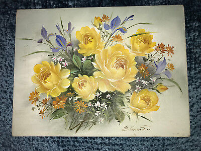 VINTAGE yellow rose floral flower original hand painted oil PAINTING by Edward