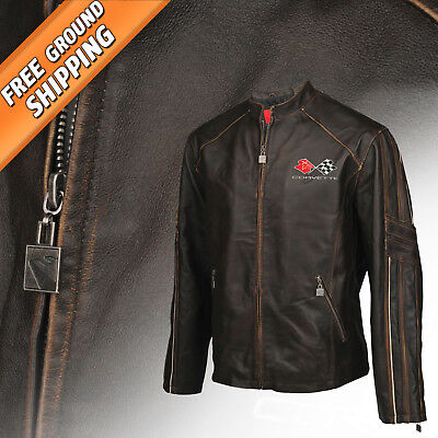 Men Leather Featherweight Light Jacket (1968-1982 C3 Corvette Logo) 5X Tall 5XLT