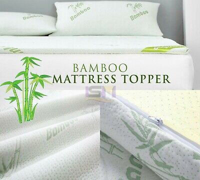 Quality Bamboo Memory Foam Mattress Topper Size Available Single Double King