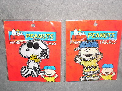 c9e5dd0d3e RARE 2 PEANUTS Charlie Brown JOE COOL Snoopy EMBROIDERED Garment Iron on  PATCH