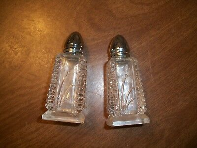 Antique Etched Glass Salt & Pepper Shakers