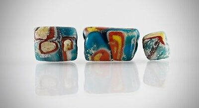 Three Byzantine / Islamic mosaic glass bead. 7-9 century AD.100% Original .#27