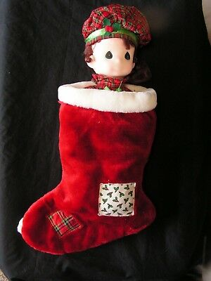 """Precious Moments Christmas Doll In Stocking """"noel"""" 1996 Nwt 22"""" W/stocking"""