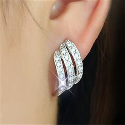 Angel Wings White Sapphire-Studded Personality Stud Earrings 925Silver/Rose Gold