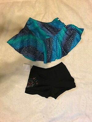Ice Figure skating lot of 2 Chloe Noel S02 Crystal Skating Shorts, blue skirt