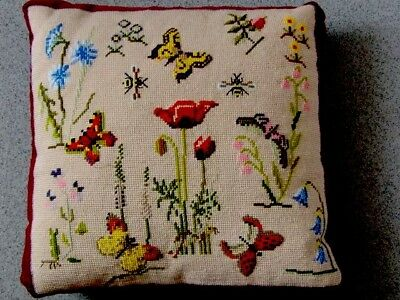 Vintage Wool Needlepoint Embroidered Cushion Cover