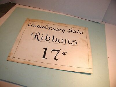 "1920's Clothing Store Hand Painted  "" Ribbons   "" Cardboard Sign"