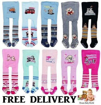 ANTI SLIP Baby BOYS GIRLS Cotton Mix Tights Leg Warmers Socks 0 - 18 Months