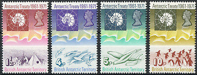 British Antarctic Territory 1971 QEII 10th Anniv of Antarctic Treaty Set MNH