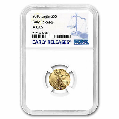 NGC MS69 Early Releases 2018 $5 1/10 oz. American Gold Eagle