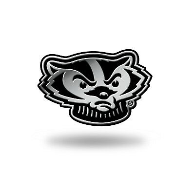 Wisconsin Badgers Logo 3D Chrome Auto Decal Sticker NEW Truck Car 3x2 Inches