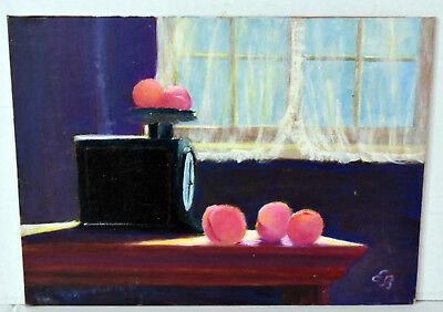 "12"" Oil Painting Canvas Still Life Scale and Apricots Fruits Lucille Bodiford"