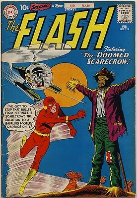 """THE FLASH #118 1961 VG/FN """"The Doomed Scarecrow"""" KID FLASH - SCARECROW COVER"""