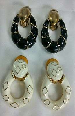 Vintage Black White Enamel Gold Tone Clip On Earrings Doorknocker Dangle Costume