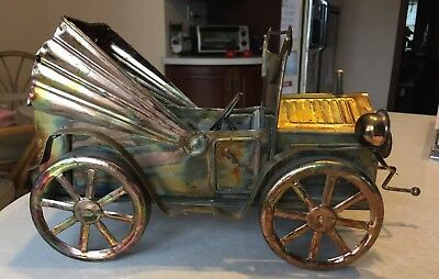 Working, Vintage Tin Copper Brass Music Box Antique Car, China