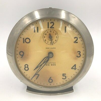 Vintage 1949-56 Westclox Big Ben Wind Up Loud Alarm Clock Made USA Silver MT