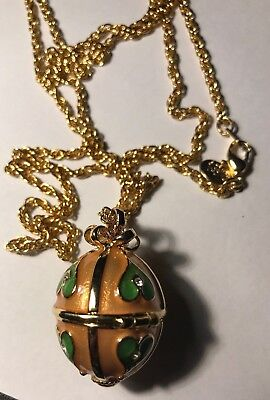 "Joan Rivers Egg Pendant Necklace Faberge Hearts Enamel Vintage 30"" chain"