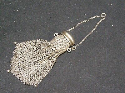 Antique Victorian Sterling Silver Mesh Expandable Miser Coin Purse Daisy Flowers
