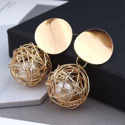 Fashion Charm Womens Gold Plated Round Pearl Dangle Drop Earrings Stud