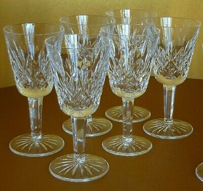 """Set of 7 Waterford Crystal Lismore Claret Stem 5 5/8"""" T Wine Glass"""