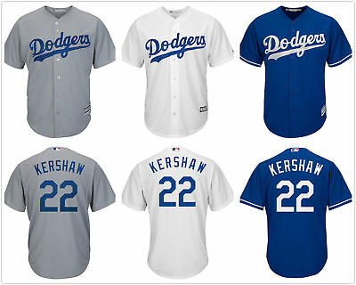 acd2b3d5b04 Men s  22 Clayton Kershaw Cool Base Jersey Los Angeles Dodgers White  Gray Royal