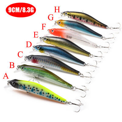 1PC Minnow Fishing Lures Floating Rattles Baits Bass CrankBait Hook Tackle