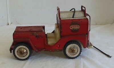 Vintage 1960s Tonka Red Fire Jeep toy