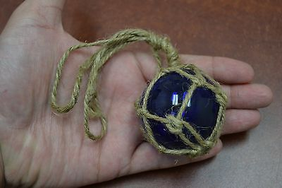 """Reproduction Cobalt Blue Glass Float Ball Buoy With Fishing Net 2"""" #f-362"""