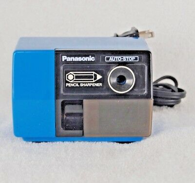 Panasonic KP-123 Pencil Sharpener Vintage Blue Auto-Stop Shavings Drawer TESTED