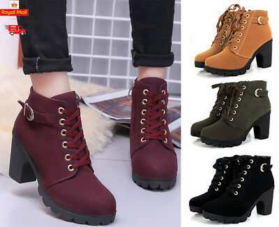 9920845c265 Womens Chunky Boots Lace Up Mid Block Heel Ankle Boots Suede Leather Shoes  Size