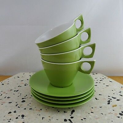 Set of 4 Vintage Retro Ornamin Melmac Green Cups & Saucers Caravan Picnic